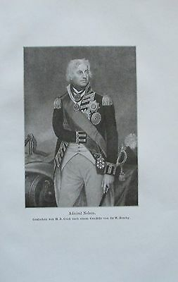 ADMIRAL NELSON 1914 Porträt Beechy alter Druck antique Print Lithographie