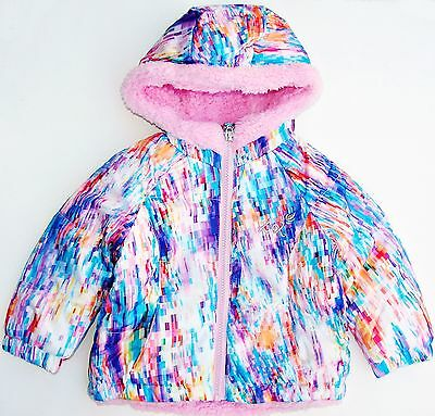 ZeroXposur toddler girls pastel hooded coat/jacket faux fur lining size 12 m NWT