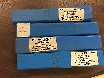 "Set of 4 Champion Silver And Deming 118 Degree Drill Bit 1/2"" Shank DB-26"