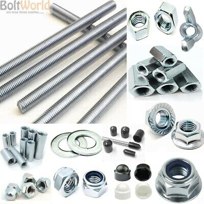 Threaded Metric Bar Studding Rod Connectors Nuts Washers Caps Zinc Mild Steel