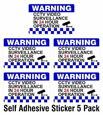 5 PACK - Warning CCTV Security Surveillance Camera Decal Sticker Sign 100x150mm