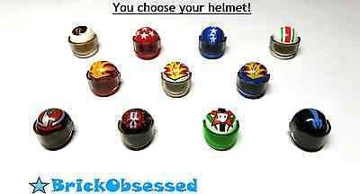 LEGO *PICK YOUR DESIGN* Minifig Standard MOTORCYCLE HELMET & VISOR Decorated Lot