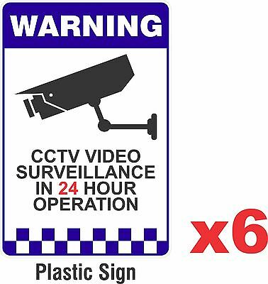 6 PACK - Warning CCTV Security Surveillance Camera Rigid Plastic Sign 200x300mm