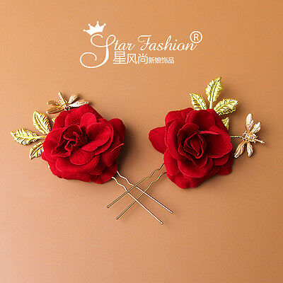 ONE PIECES Red Rose Headdress Headband Prom Queen Tiara Crown Hair Accessory