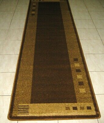 New Brown Modern Turkish Heatset Floor Hallway Runner Rug 80X300Cm