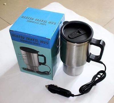 Stainless Steel Car Auto 12v Adapter Travel Mug Thermos Heat Cup Kettle 1pc GG