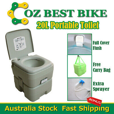 20L Portable Toilet Outdoor Camping Potty w Carry Bag Sprayer Caravan Camp Boati