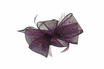 GIZZY® Ladies Elegant Purple Sinamay, Net and Feather Fascinator on Comb.
