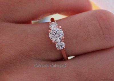 1.00Ct Diamond Solid 14k Rose Gold Three Stone Engagement Wedding Ring Certified
