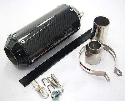 51mm Carbon Fiber Motorcycle Round Exhaust Muffler Pipe Silencer End Can Slip-On