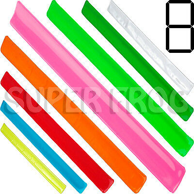 2 High Visibility Arm Slap Strap Band Reflective Safety Fluorescent Wristband