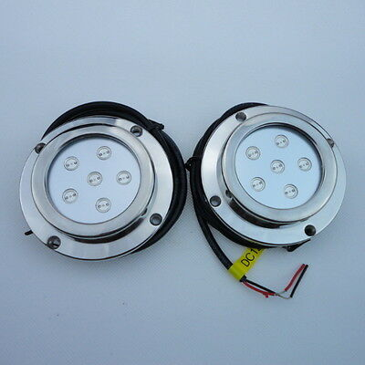 2 Pieces 6W BLUE Color Stainless Steel Underwater  Boat Marine LED Light In Uk