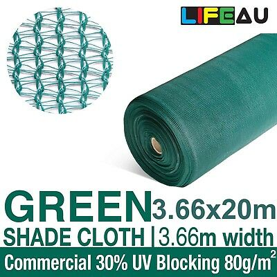30% GREEN 3.66 x 20m Shade Cloth Shadecloth Greenhouse Scaffold Mesh 3.66 width
