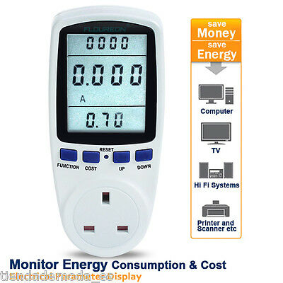 Plug In LCD Meter Monitor Power Energy Kwh Volts Electricity Consumption Usage