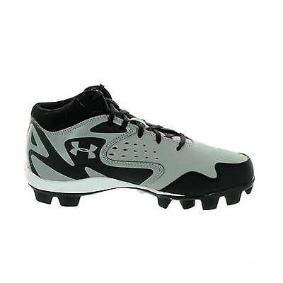 Under Armour Leadoff Mid Rm Jr Grey / Black Youth Molded Baseball Cleats 6Y