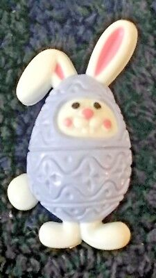 Vintage 1970's Purple Easter Egg White Bunny Pin Brooch Signed Avon Plastic