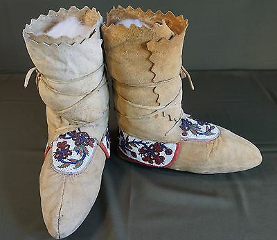 Native American Late 1800 NE Woodland Beaded High Top Moccasins