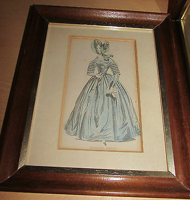 "Original 1840's Ladies Fashion Plate ""morning Dress""  Framed Victorian Print"