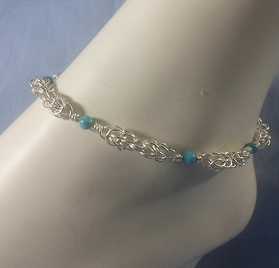 SilverTarnish Resistant Persiantine Chainmaille Anklet with Turquoise Beads