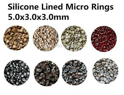 200 X 5mm Silicone Lined Micro Rings Beads for I Stick Tip Human Hair Extension