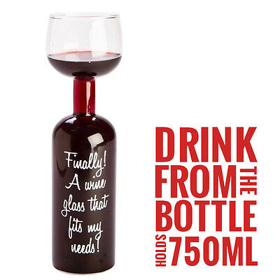 The Wine Bottle Glass - Can Hold 750ML - Red Wine, White Wine or Champagne