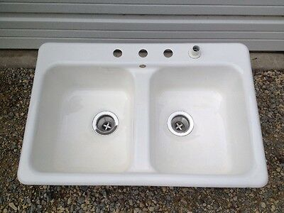 Vintage Cast Iron Porcelain Sink Eljer 100lbs Double W/4 Holes-Stainless Drains
