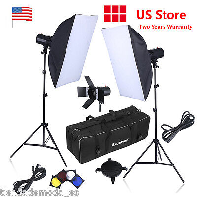 500W Strobe Studio Photography Photo Flash Lighting Kit Light Stand Soft Box US
