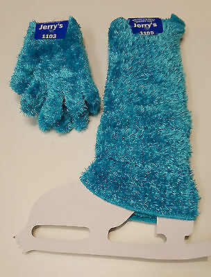 New Figure Skating Fuzzy Leg Warmers & Gloves Set Turquoise One Size Youth