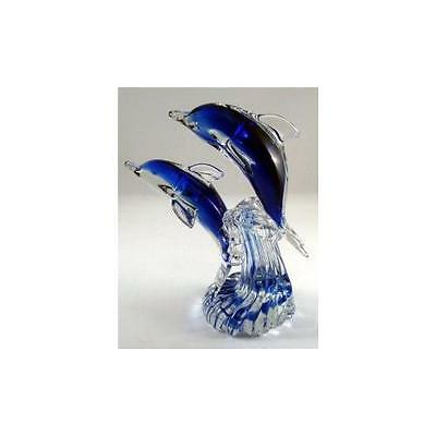 Glass Dolphin Figurine 8""