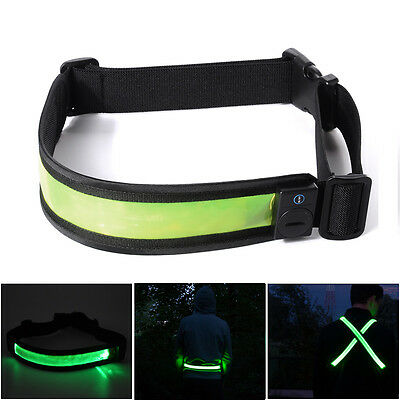 LED Reflective Belt Running Safety Belt Rechargeable High Visibility Green