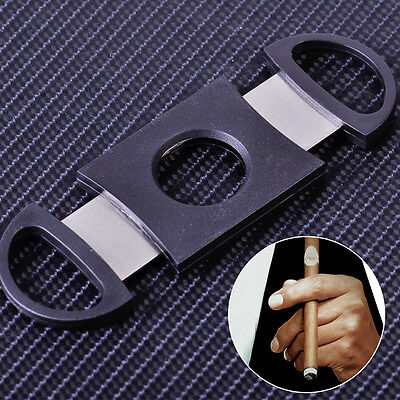 NEW Stainless Steel Black Pocket Double Blades Cigar Cutter Knife Scissors Shear