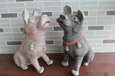 Preeminent Chinese pottery dogs pair W1261