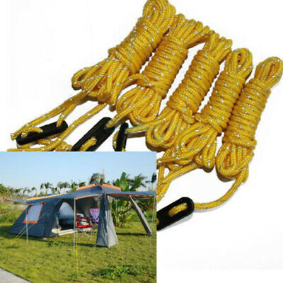4PCS Yellow Fluorescent Guyline Tent Rope Runners Guy Line Camping Cord Paracord
