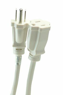 Woods 277563 8-Foot Outdoor Extension Cord with Power Block, White NEW