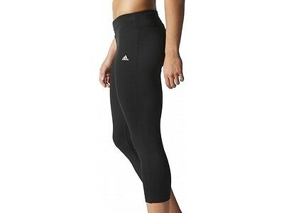 Adidas Clima Womens Ladies Black 3/4 Capri Running Gym Fitness Leggings Tights