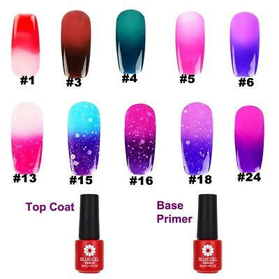 Temperatura Cambiar Color Esmaltes De Uñas Soak-Off Top Base Coat Nail UV Gel