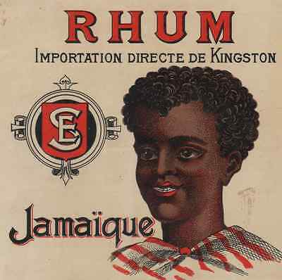 """RHUM JAMAÏQUE (Importation de KINGSTON)"" Etiquette-chromo originale fin 1800"
