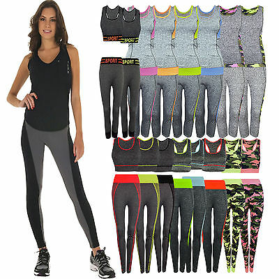 2pcs Women Sportswear Yoga Workout Tracksuit Fitness Gym Tank Top & Capri Pants