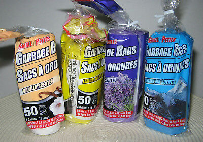 4 Gallon Scented  Doggie Bags Kitty Litter Bags 50 Per Pkg Trash Garbage