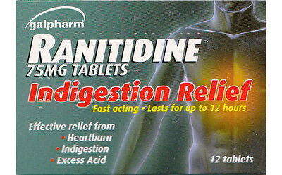 Zantac Generic Ranitidine Acid Indigestion Heartburn Relief 75mg 12 Tablets[x3]