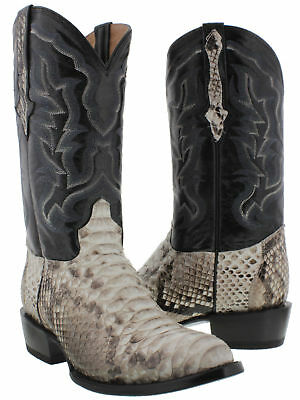 Mens Real Python Snake Skin Genuine Leather Western Cowboy Boots Round Toe