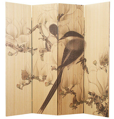 4 Panel Bamboo Flowers & Birds Screen / Room Divider