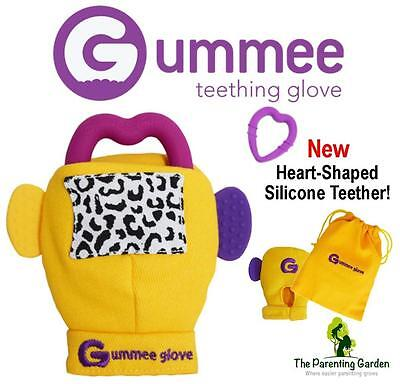 NEW Gummee Glove Yellow Baby Teething Mitten with Silicone Teether Ring Toy