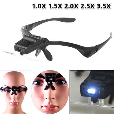 Headband Magnifying Glass Len 2LED Light Lamp Visor Head Loupe Jeweler Magnifier
