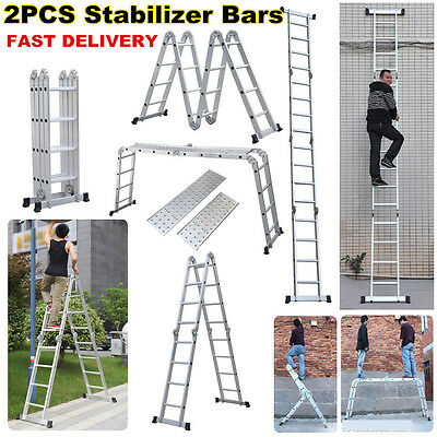 4.75m 15 ft Ladder Scaffold Aluminum Folding Multi Purpose Step Heavy Duty Steps
