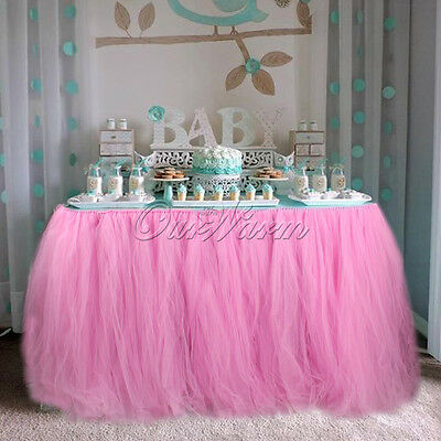 Wedding Party Baby Shower TUTU Table Skirt Pink Tableware DIY Crafts Decoration