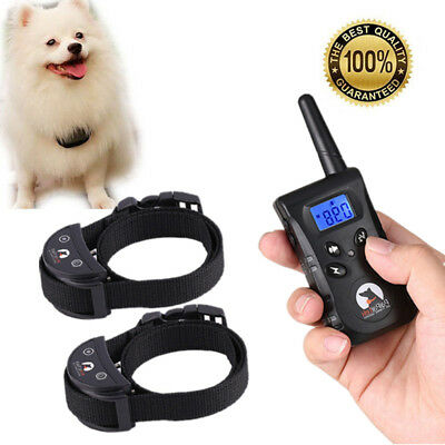 500M LCD Electric Shock Pet Dog Training Remote E-Collar Waterproof For 1/2 Dog