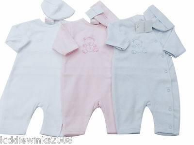 BNWT Tiny Baby NB Premature Preemie Baby white cotton teddy suit & hat Clothes