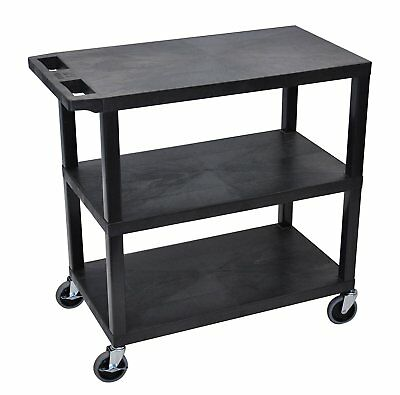 Luxor 32 x 18 inch Cart With Three Flat Shelves EC222-B in Black Finish New