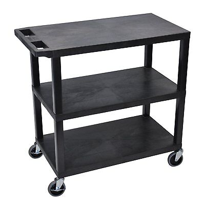 Luxor EC222-B Cart With Three Flat Shelves Black Finish Weight Capacity 400 lbs